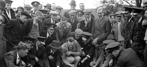 Busmen from the Crawley, Sussex depot at the Tinsley Green, Surrey marbles match v Tinsley Green, 19th April 1935